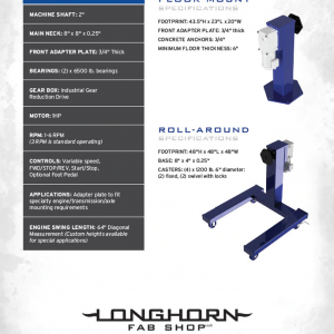 Longhorn Fab Industrial Rotator | Professional Grade Rotating Engine Stand | Caster Wheel